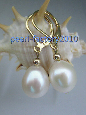 new 10-12 MM AAA PERFECT white south sea pearl earrings 14K  GOLD