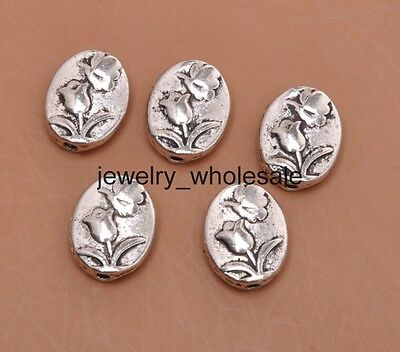 20pcs Tibetan Silver Charms Rose Flowers Spacer Beads DIY Jewelry 11x9mm A3067