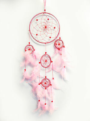Set of 2 Dream Catchers Hanging Handmade with Feathers Craft Gift Car Décor