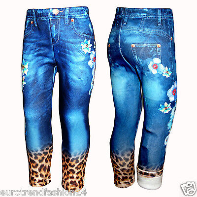 Fell gefüttert warm Winter Leggings Thermo Treggings Hose Leggins Jeans Look Neu