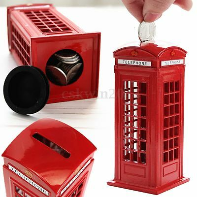 Red British London Telephone Booth Piggy Bank Penny Cents Saving Box Kids Gift