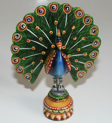 Rare Indian Hand Crafted Dancing Peacock Wooden Statue Best Quality Souvenirs
