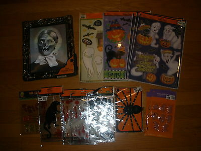 New Lot 14 Spooky Window/gel Clings Spider Holographic Pix Halloween Decoration