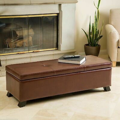 Luxury Saddle Brown Leather Storage Ottoman Bench