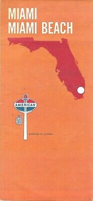 1970 AMERICAN OIL COMPANY Road Map MIAMI BEACH Coral Gables Bal Harbour Florida