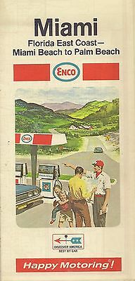 1969 ENCO HUMBLE OIL Road Map MIAMI PALM BEACH Florida Fort Lauderdale Hialeah