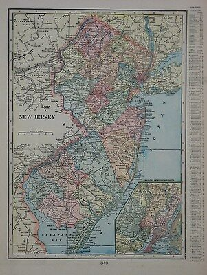 Original 1902 Cram County Map NEW JERSEY Newark Cape May Hudson Railroads Canal