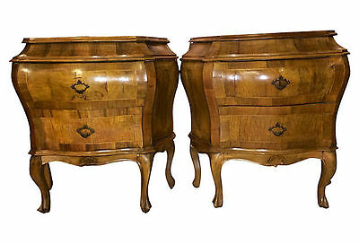 Pair of Olive Wood Bombé Commodes 102-8203