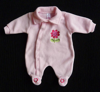 Baby clothes GIRL newborn 0-1m soft fleece pink flower pramsuit 2nd item postfre