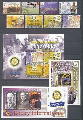 PAPUA NEW GUINEA ROTARY MNH+Mini Sheets MNH(11 Items)PAP302