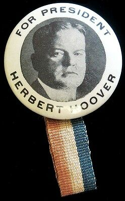 1928 Herbert C. Hoover Presidential Campaign Celluloid 22 Mm Button W/ Ribbon