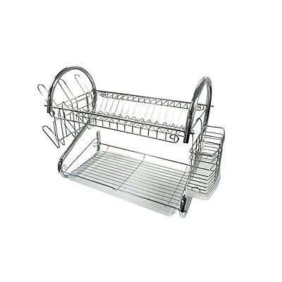 Dish Drainer 2-Tier Chrome Plate Cup Bowl Washing Sink Kitchen Cutlery