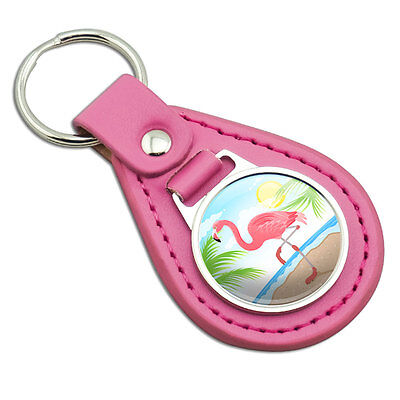 Flamingo and Palm Tree Beach Vacation Pink Leather Metal Keychain Key Ring