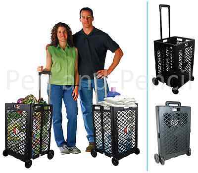 Shopping Cart Basket Storage Rolling Portable Folding Wheel Utility Grocery