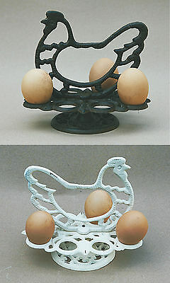Vintage Style Cast Iron Chicken Hen Egg Rack Holder Stand