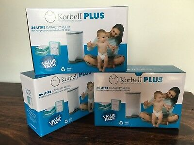 Korbell PLUS nappy / diaper bin refills (3 boxes = 9 refills) for 26L nappy bins