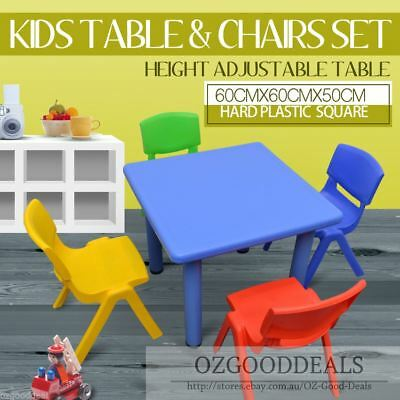 Kids Toddler Children Square Activity Table and 4 Chair Chairs Blue 60x60cm S