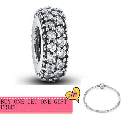 Authentic S925 Sterling Silver Inspiration Round Clear CZ Charms For Bracelets