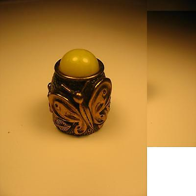 Thimble Brass Bronze with Baltic Amber Russian HANDCRAFTED