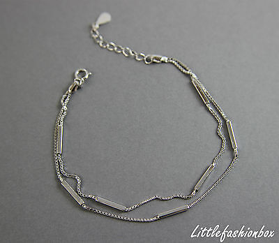Sterling Silver Skinny Box Chain & Tubes Double Layered Bracelet UK New 2.52g