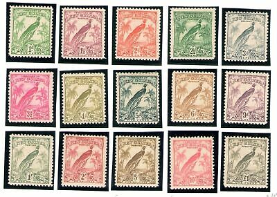 1932 New Guinea without date S.G. 177/189 set of 15  MLH/*