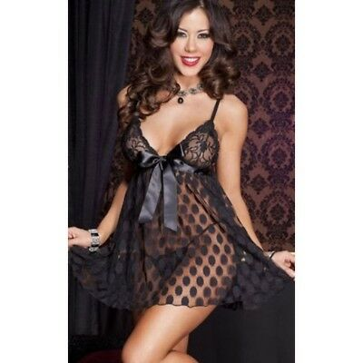 Sexy Lingerie Babydoll Chemise Nero Pizzo Tulle Pois Sottoveste