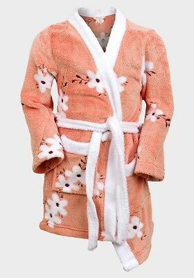 Girls Fleece Floral Coral Dressing Gown Robe - Size  age 4yrs to 10yrs New