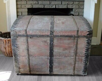 LARGE 1700's Steamer Trunk Antique Immigrant Trunk Luggage Blanket Chest Trunk