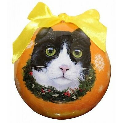 Black & White Cat~ Christmas Ball Ornament