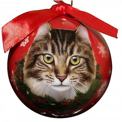 Maine Coon Cat~ Christmas Ball Ornament