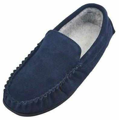 ​Mens Gents Real Genuine Leather Suede​ Moccasin Warm Fleece Lined Slippers