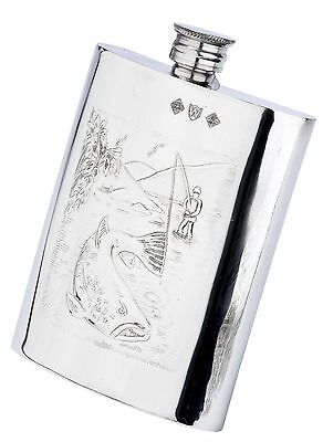 Pewterware fly fishing scene catching a salmon 177.4ml oblong hip flask & funnel