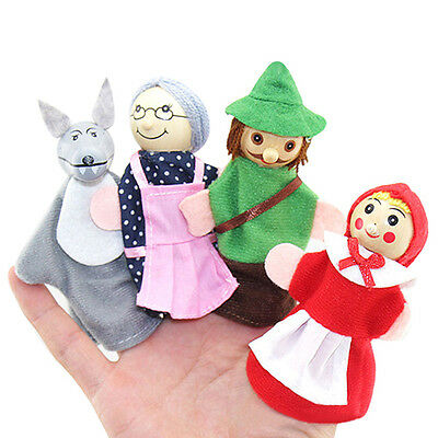 Elegant Amusive Little Red Riding Hood Story Play Game Finger Puppets Toys Set