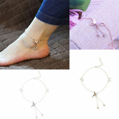 Women Butterfly Chain Anklet Ankle Bracelet Barefoot Sandal Beach Foot Jewelry