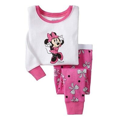 Baby Girl Kid Children Clothing Set Pajamas Sleepwear Nightwear Mickey Size 2T-7