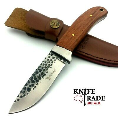 Elk Ridge Hunter ER-268 + Leather Sheath Hunting,Skinning,Bushcraft,Camp, Knife
