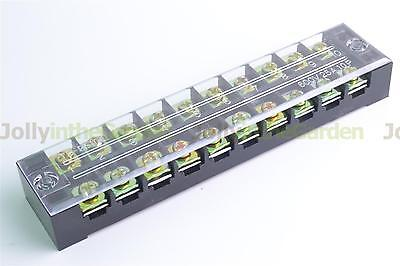 Dual Row 10-Position Clear Covered Barrier Strip Terminal Wiring Block 25A