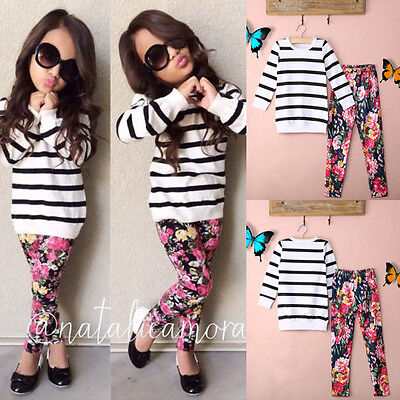 2Pcs Baby Kids Girls Outfits Long Sleeve Tops + Floral Pants Fashion Clothes Set