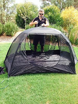 Mosquito Mozzie Dome Tent Mesh 2 Person Instant Pop Up Camping Shade Black Stump
