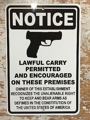 MAN CAVE Guns Welcome Lawful Carry Metal Sign Gun Club WARNING 2nd Amendment