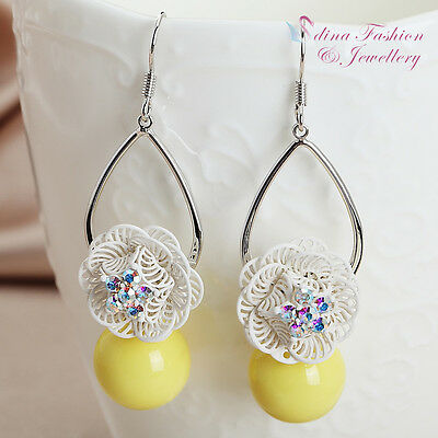 18K White Gold Plated Simulated Pearl Teardrop Flower Yellow Dangle Earrings