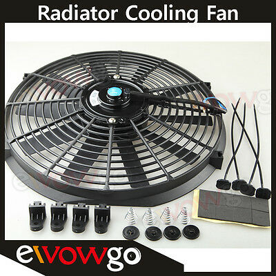 "Universal Slim 14"" Pull/push Radiator Engine Bay Cooling Fan+Mounting Kit Black"