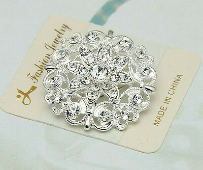 New Bridal Bouquet Rhinestone Crystal Brooch Pins Silver Plated Brooches Flower