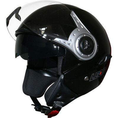 Leopard LEO-602 DVS Open Face Scooter Motorbike Motorcycle Helmet Gloss Black