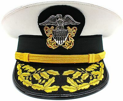 NEW US NAVY COMMANDER ADMIRAL RANK WHITE HAT CAP Size 60 R N COMMANDERS ****
