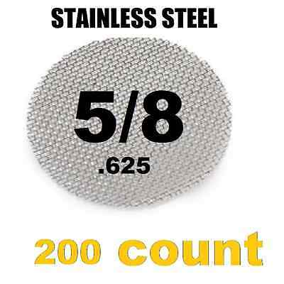 """200 x Stainless Steel Tobacco Pipe Screens  5/8"""" .625"""" Size"""