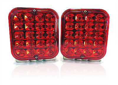 """(2) Trailer Truck Red LED Surface Mount 5"""" Square Stop Turn or Tail Light Sealed"""