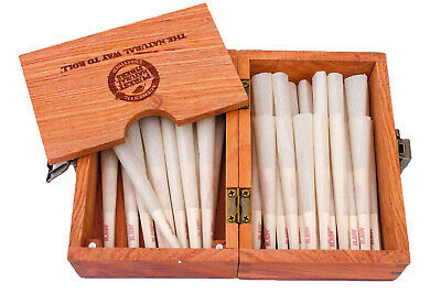 RAW Organic 1 1/4 Size Pre-Rolled Cones 75 pack With The New Raw Wood  Box