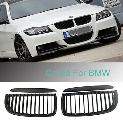 Black Front Kidney Grill Grille Cover Hood For BMW E90 E91 05-08 320i-335i 4Door