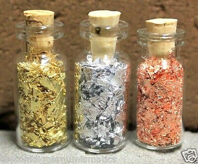 3ct GOLD SILVER & COPPER Leaf Flake Mini Vials Small Bottles DONATIONS FOR M.S.
